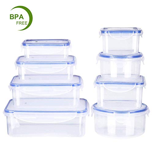 Deik Set di Contenitori per Alimenti Senza BPA Impilabile 8 Pezzi Certificato LFGB Adatto per lavastoviglie Congelatore Microonde