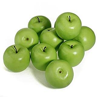 12 Pieces Decorative Large Artificial Fake Green Apple Plastic Fruits Home Party Decor