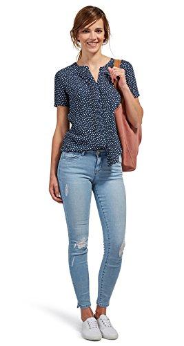 Tom Tailor für Frauen Shirt / Blouse gepunktete Kurzarm-Bluse real navy blue