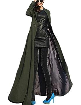 La Mujer Otoño Invierno Elegante De Manga Larga Sólido Lana Maxi Swing Clásico Trenchcoat Outwear