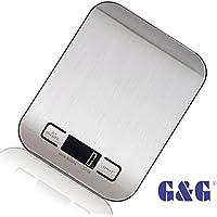 G&G 5kg/1g KI Küchenwaage AAA Batterien Briefwaage Feinwaage - Nur 17mm hoch(Schwarz)