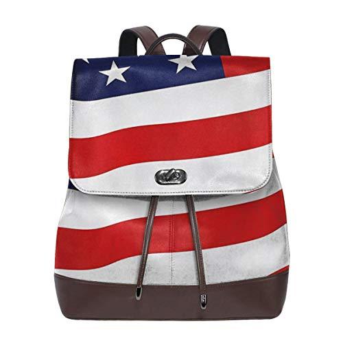 SGSKJ Rucksack Damen Usa Flagge, Leder Rucksack Damen 13 Inch Laptop Rucksack Frauen Leder Schultasche Casual Daypack Schulrucksäcke Tasche Schulranzen
