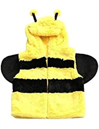 Children's Soft Feather Edge Fleece Hooded Bumble Bee Design Gilet/Body Warmer. (S/M)
