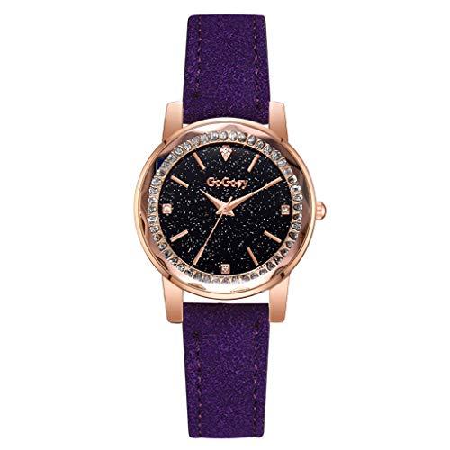 TWISFER Damen Starry Sky Convex Glas Quarznetz mit Leder Armband Analog Quarz Uhr Romantisch Mode Armbanduhr