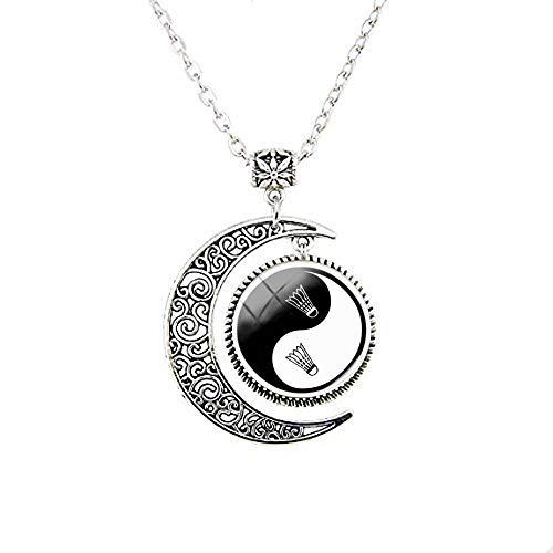 Yin Yang Badminton Mond Halskette, Geschenk für Freunde, Vintage-Stil, Foto-Schmuck, handgefertigter Schmuck