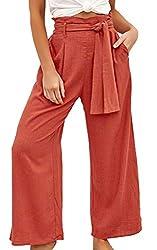 ECOWISH Damen Hosen Lang Weites Bein Sommerhose Gummibund Freizeithose mit Taschen und Gürtel Orange S