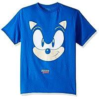 Sega Boys' Little Sonic The Hedgehog Big Face Short Sleeve Tshirt, royal, 5/6