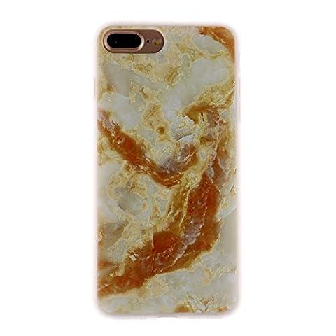 iphone 7 Plus Hülle, iphone 7 Plus Soft Case , Cozy Hut iphone 7 Plus Backcover Silikon Schutzhülle im Goldener Marble Design Hülle aus TPU transparent Muster kratzfest - Crystal Clear Ultra Dünn Durchsichtige Backcover Soft TPU Case für iphone 7 Plus 5.5 Zoll - Marmor