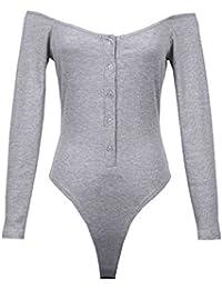 Damen Langarm Overalls Jumpsuit Bodysuit Slim Stringbody Playsuit Oberteile Tops