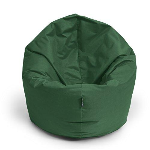 Sitzsack BuBiBag 2-in-1 Funktionen mit Füllung Sitzkissen Bodenkissen Kissen Sessel BeanBag (100cm durchmesser, dunkelgrün)