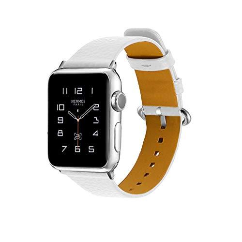 Luckhome Unisex Armbanduhr Digitale Sportuhr Damen Herren Digital Sport Uhr,Für Apple Watch Serie 1/2/3/4 38 / 40mm Deluxe Leder Denim Armband Uhrenarmband(Weiß) (Apple Watch Sport Collection)