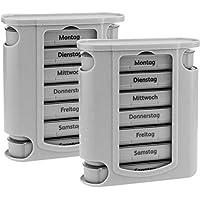 Preisvergleich für 2x WELLGRO® Tablettenbox für 7 Tage - je 4 Fächer pro Tag, 11,5 x 4,5 x 13 cm (BxTxH) - Farbe wählbar, Farbe:Grau