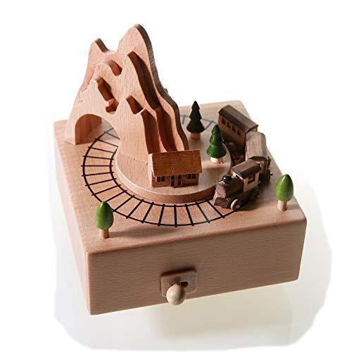 Futtersuche Hamster Kleine Zug Hölzerne Spieluhr Clockwork Drive Buche Kinder Handwerk Kreative Geschenke Geburtstagsgeschenk Reine Musik Stilvoll und schön (Größe Hamster Kind Ball)