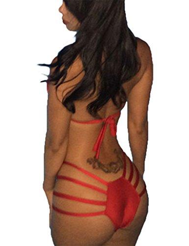 Smile YKK Sexy Damen Party Bikini Riemchen Hollow-Out-Pool Badeanzug Rot