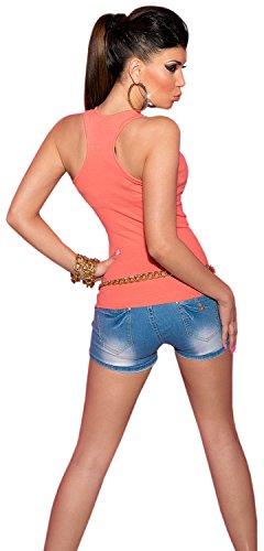 Koucla femme top cARRIER-uni en avec boutons en strass taille unique (convient du 34 au 40) Orange - Corail
