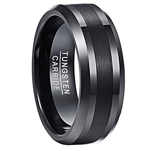 Nuncad Wolfram Ring Herren/Damen Schwarz 8mm Matt Gebürstet, Unisex Fashion Ring für Lifestyle, Geschenk, Hochzeit und Alltag, Größe 62 (22)