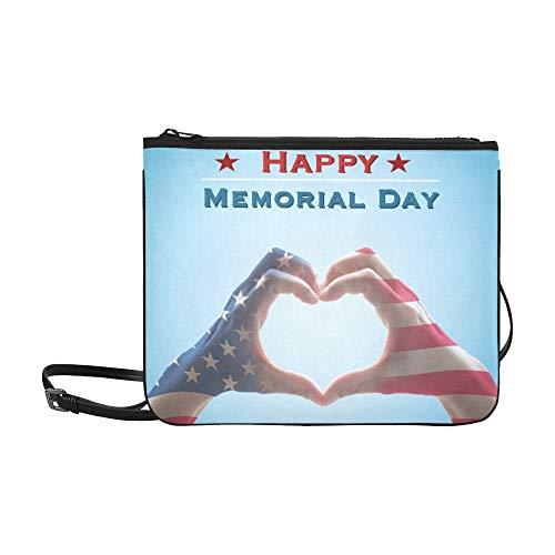WYYWCY Happy Memorial Day America Flag Benutzerdefinierte hochwertige Nylon Slim Clutch Bag Cross-Body Bag Umhängetasche