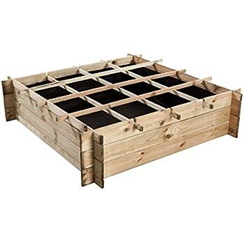 Jardini re en carr sur lev e en bois 1m2 - 1m2 en cm ...