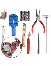 TRIXES Kit de reparación de relojes de 16 piezas & herramienta de ajuste de correa de muñeca abridor y cerrador de tapas