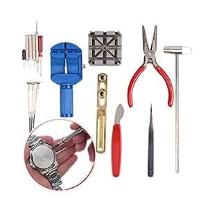 TRIXES Kit de réparation pour montres 16 pièces Lot & Sangle de poignet réglable Pin Tool Kit dissolvant fixation arrière