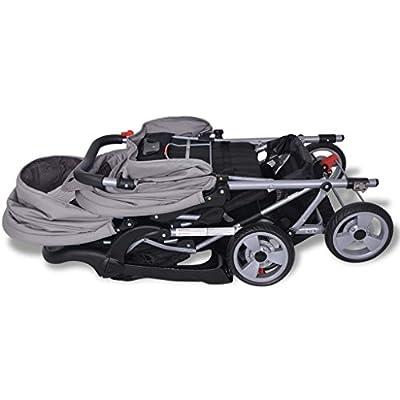 mewmewcat Geschwisterwagen Geschwisterwagen Kinderwagen Geschwisterkinderwagen aus Stahl + Oxfordgewebe für 1-2 Kinder bis zu je 15kg - Grau und Schwarz