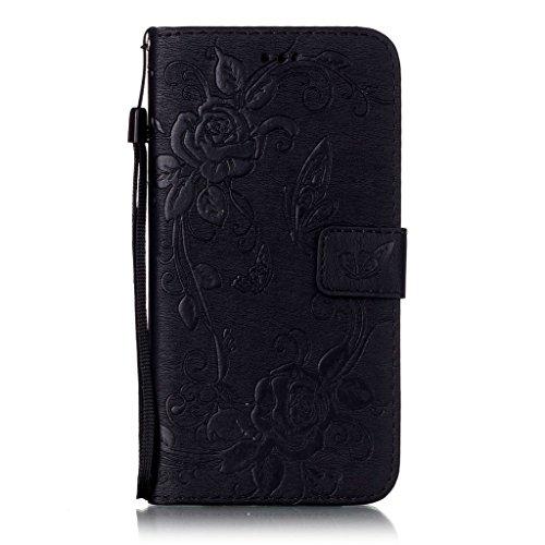 Mo-Beauty®, custodia a portafoglio per iPhone 6/6S, in poliuretano + protezione per lo schermo in vetro temperato, motivo con farfalle e fiori, con cinghia da polso, Black, iPhone 7 Black