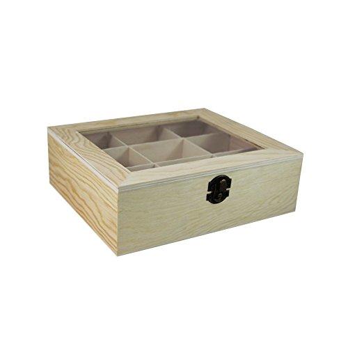 9 Naturholz (Holz Teefilterbehälter mit 9 Fächer Naturholz Box, Holzkiste)