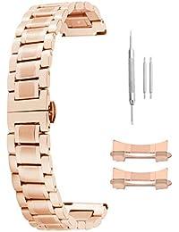 Correas de Reloj de Acero 24 mm Correas de Reloj de reemplazo de Acero de Oro Rosa de 19 mm de 18 mm de los Hombres de Las Mujeres