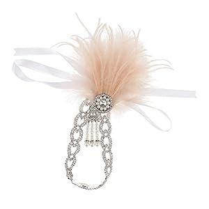 Baoblaze Damen Charleston Stirnband 1920er Haarband Federn Perlen Kopfschmuck Party Kostüm Accessoire
