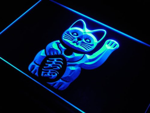 cartel-luminoso-adv-pro-j980-b-maneki-neko-lucky-cat-charm-good-led-light-sign