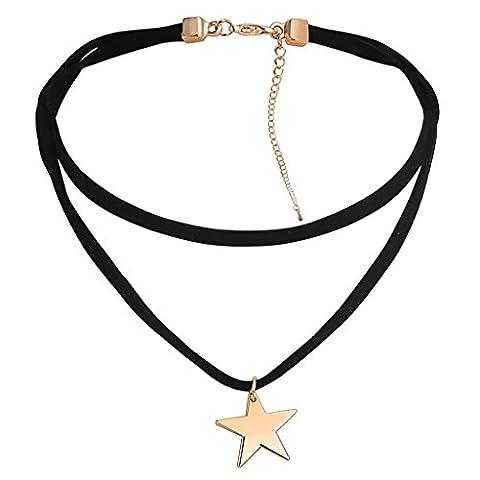 Daesar Edelstahl Kette Damen Velvet Statement-Kette Sterne Kette Gold Schwarz Halsband Halskette 35+13.5CM