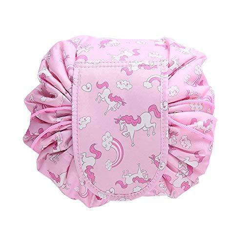 Kosmetiktasche, RUISIKIOU Schminktasche, One-Step Organizer MakeUp Tasche Kosmetikbeutel fur Lazy Damen Tragbar Große Kapazitat (Rosa Regenbogen) -