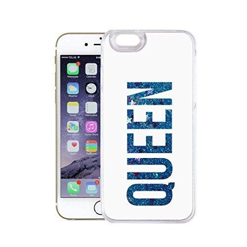 finoo | Iphone 6 Plus / 6S Plus Flüssige Liquid Blaue Glitzer Bling Bling Handy-Hülle | Rundum Silikon Schutz-hülle + Muster | Weicher TPU Bumper Case Cover | Elefanten Schaukel Hase Queen White