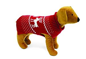 Doggy Things Reindeer Jumper, X-Small, Red
