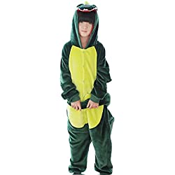 Unisex niño franela animales novedad pijama ropa disfraces para Halloween Cosplay, Green dinosaur, extra-large
