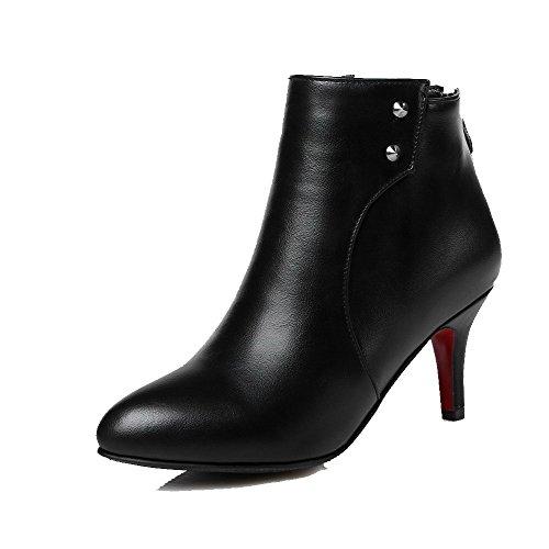 Mit Stiefel Eingelegt Set Reißverschluss Schwarz Hohe Damen Rivet Voguezone009 Knöchel TZqYWfAnF