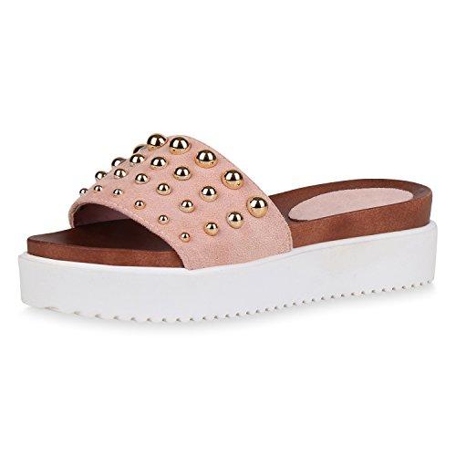 SCARPE VITA Damen Sandaletten Plateau Pantoletten Nieten Sommer Schuhe Profil 163117 Rosa 36 Flandell (Rosa Sandalen Abend)