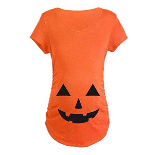 erschaft T Shirt Schwangerschaft Grafik Smiley Party Shirts Stil Kurzarm V Ausschnitt Halloween Für Karneval Oberteile Tunika Umstandsmode (Color : Orange, Size : L) ()