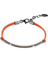 Esprit Damen Armband 925 Sterling Silber rhodiniert Stoff Zirkonia Brilliance Expression Orange orange