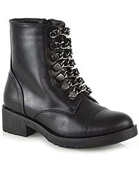 94cab12a9e12 Frauen Kette Militär Booties Damen Reißverschluss Befestigte Sohle  Niedriger Block Absatz Springer Knöchel Stiefel Schuhe