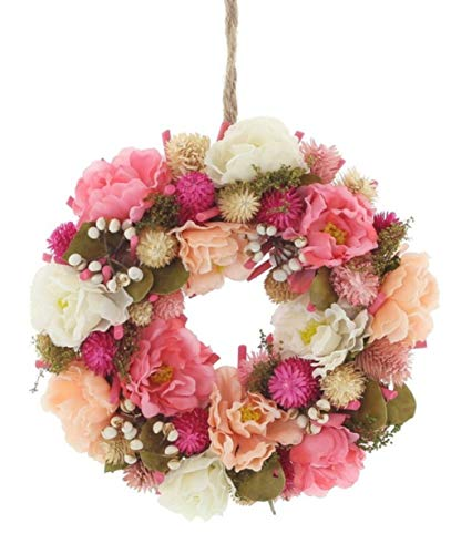 kranz Türkranz Kranz Blütenpracht rosa,pink,weiß Ø 25 cm Blumen Blütenkranz Frühling Ostern Dekokranz Seiden Kunstblumen Blütenkranz ()