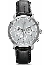 BMW Original Reloj para hombre reloj de acero inoxidable con pulsera de piel en negro