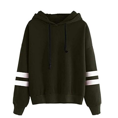 Reaso Sweat Shirt Hooded Sports Femme Automne Tops à Manches Longues Dames Hiver Rayé Sweat-shirt Coton Sweats à capuche Blouson Col Rond Casual Pull Elegant Chemisier Streetwear (XL, Armée Verte)