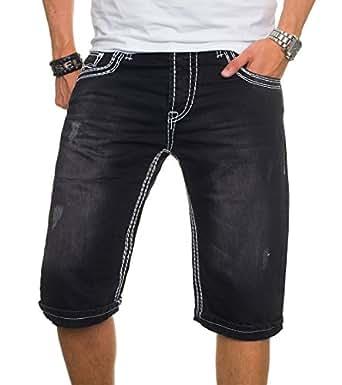 A. Salvarini Herren Jeans Short Kurze Hose Dicke Nähte Bermuda Shorts AS022 [AS022 - Schwarz - W29]
