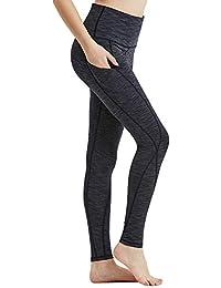 1673aacff812b Hibbent High Waist Yoga Pants Sports Leggings with Out Pocket Power Flex  Women Tummy Control Workout