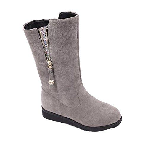Stiefel Damen Clode® Art und Weisedame Frauen Aufladungs flache Winter warme Schnee Schuhe Grau
