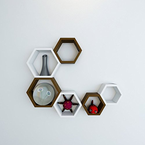GrayWood Wall Shelf Rack Set Of 6 Hexagon Shape Storage Wall Shelves For Home | White & Brown  available at amazon for Rs.1899