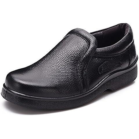 Tamaño de zapatos de cuero de cuero transpirable con suela gruesa para los hombres/ zapatos de mediana edad padre del resbalón/Zapatos de los