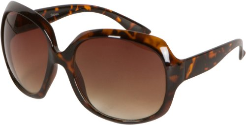 Sakkas Retro Vintage Oversized Frame Fashion Sunglasses - Todertoise/Amber