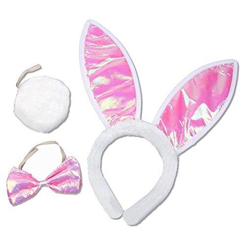 Schramm® Bunny Set 3 TLG. Ohren, Fliege und Stummelschwanz Kostüm Häschen Set Hase Bunny Fasching für Erwachsene